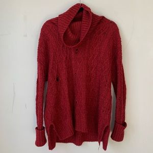 Free People Cowl-Neck Cable-Knit Sweater